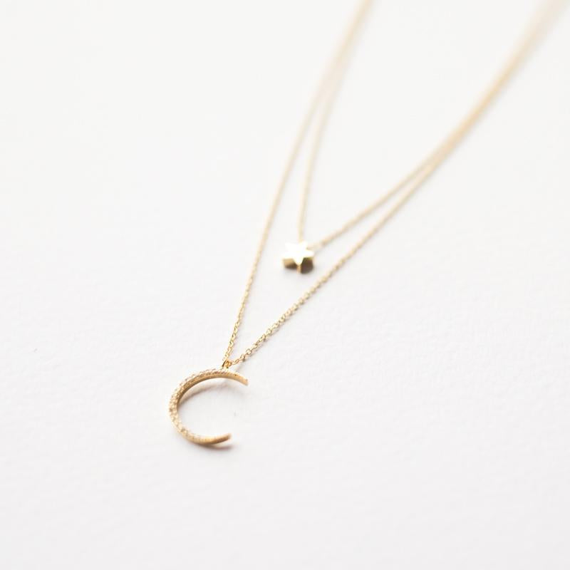 Two Layer Moon and Star Necklace