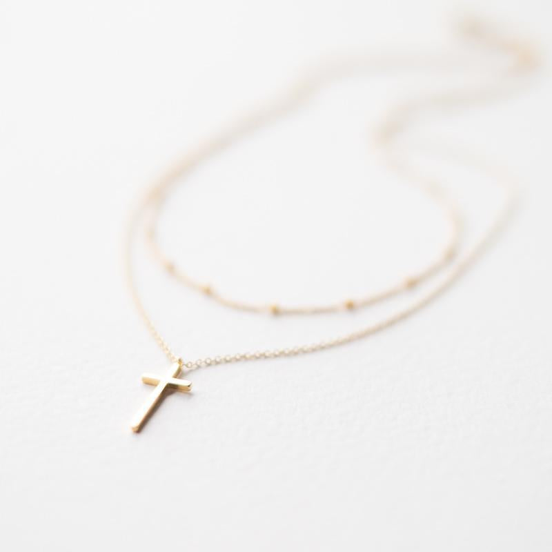 Two Layers Gold Cross Necklace