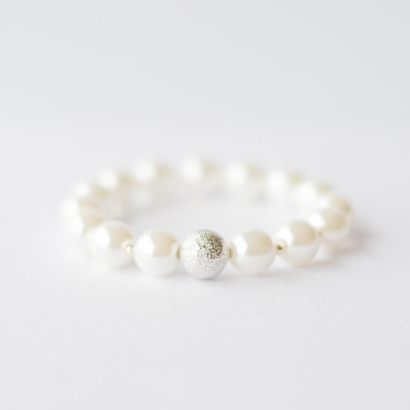 White Pearl Bracelet with silver bead