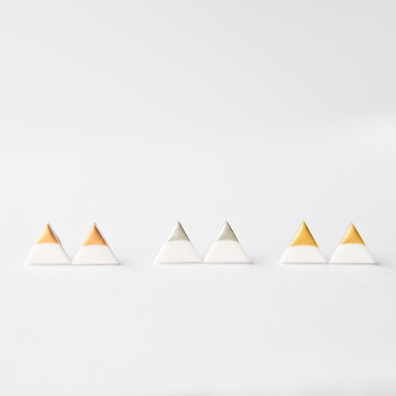 White Rose Gold Triangle Earrings