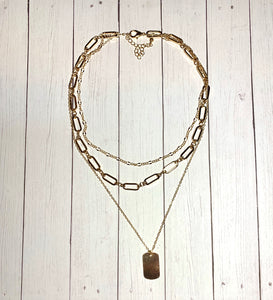Necklace - Gold Layered with Chain Pendant