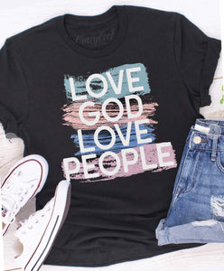 "Tee - Black ""Love God Love People"""