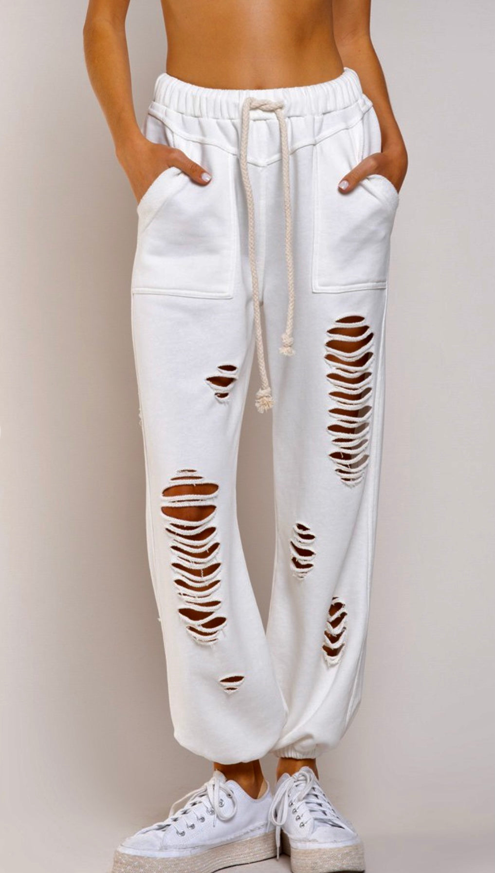 Joggers - White Distressed