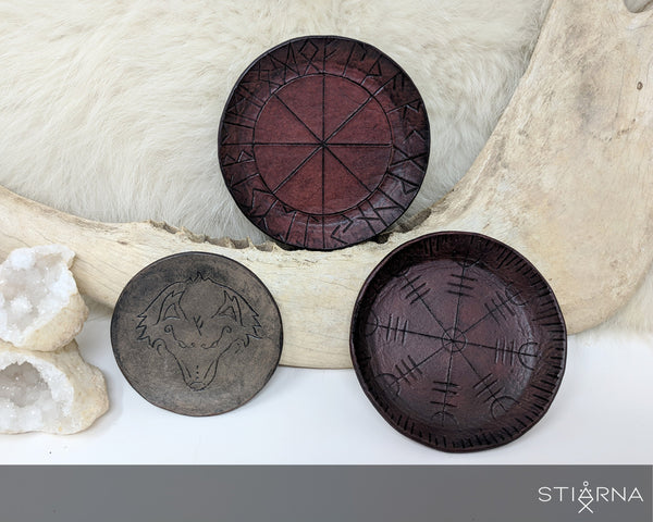 Rune Circle Altar Candle Holder / Trinket Tray