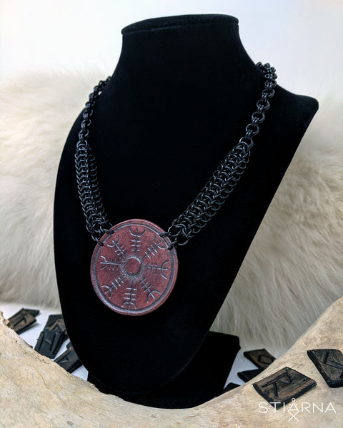 READY TO SHIP Leather Viking Shield Chainmail Necklace / Helm of Awe