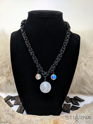 Miðnótt Necklace (Byzantine chain with moon and stars)