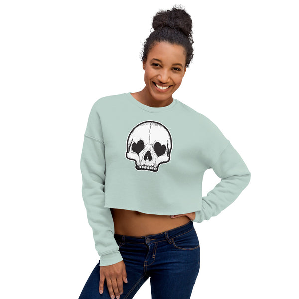 Heart Eyes Skull Crop Sweatshirt