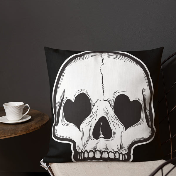 Heart Eyes Skull Premium Pillow