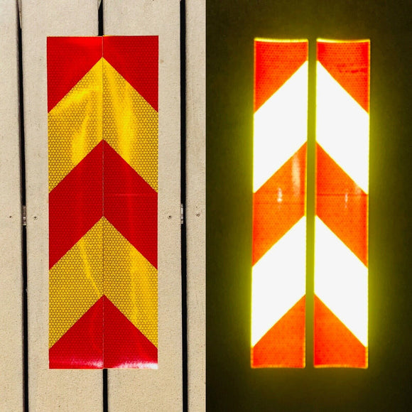 Vertical School Bus Yellow & Red Reflective Chevron Panels (Multiple Sizes) - ReflectivePro