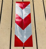 Vertical White & Red Reflective Chevron Panels (Multiple Sizes) - ReflectivePro