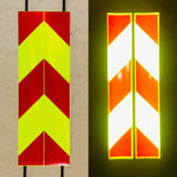 Vertical Lime & Red Reflective Chevron Panels (Multiple Sizes) - ReflectivePro