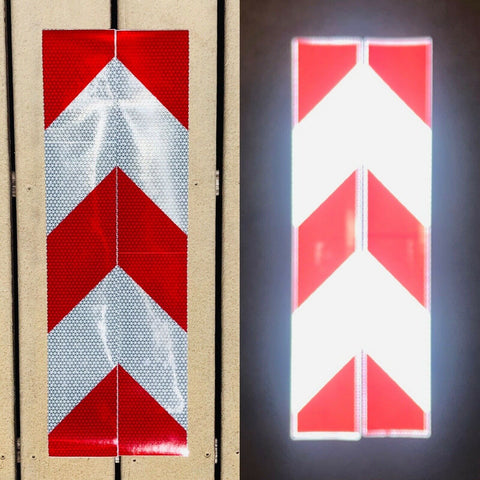 Vertical White & Red Reflective Chevron Panels (Multiple Sizes) - Reflective Pro