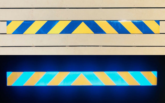 Blue & Gold Reflective Chevron Panel (Multiple Sizes) - ReflectivePro