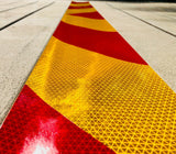 School Bus Yellow & Red Reflective Chevron Panel (Multiple Sizes) - ReflectivePro