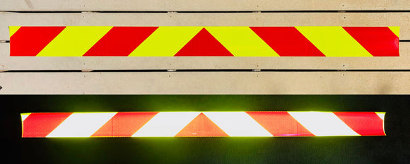 Lime & Red Reflective Chevron Panel (Multiple Sizes) - Reflective Pro