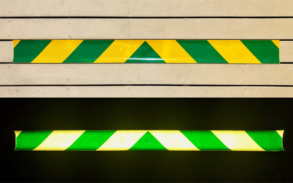 School Bus Yellow & Green Reflective Chevron Panel (Multiple Sizes) - ReflectivePro