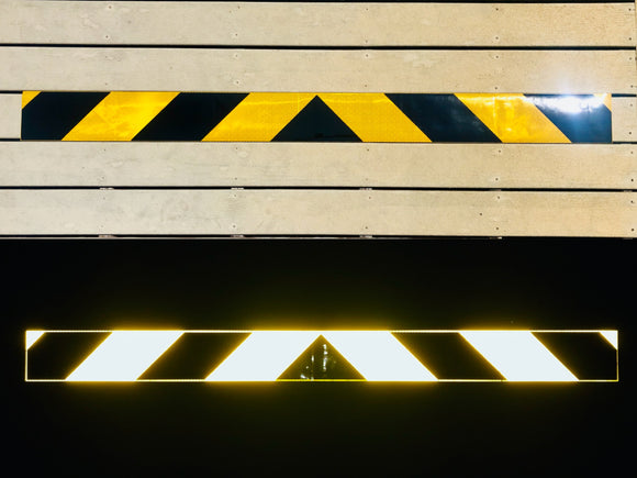 Schoolbus Yellow & Black Reflective Chevron Panel (Multiple Sizes) - ReflectivePro
