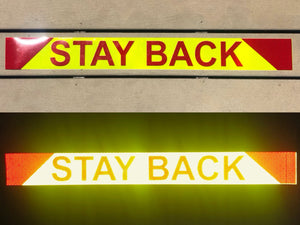 """STAY BACK""  Reflective Chevron Word Panel 4""x36"" - ReflectivePro"