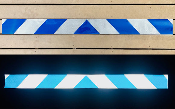 White & Blue Reflective Chevron Panel (Multiple Sizes) - ReflectivePro