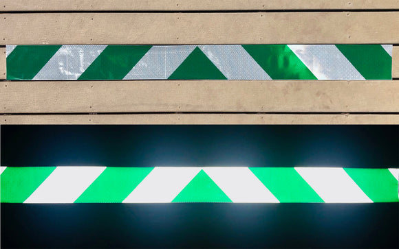 White & Green Reflective Chevron Panel (Multiple Sizes) - ReflectivePro
