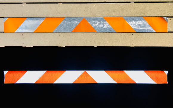 White & Orange Reflective Chevron Panel (Multiple Sizes) - ReflectivePro