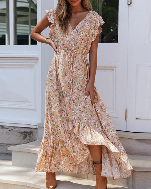 Simone Boho Print Maxi Summer Dress