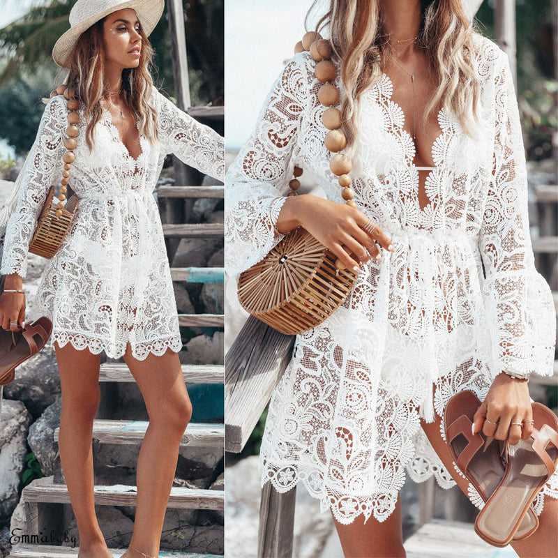 Deep V Neck White Lace Patchwork Hollow Out Mini Dress