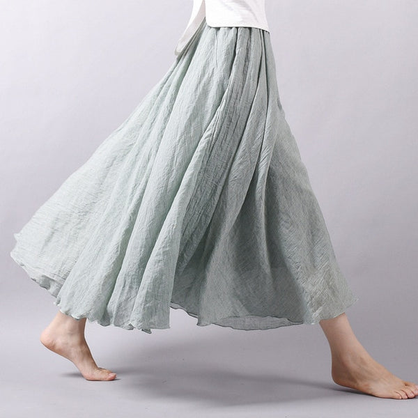 Linen Cotton Elastic Waist Maxi Skirts