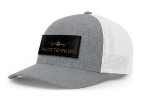 Pilot to Pilot Trucker Hat (Heather Grey & White)
