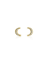 Load image into Gallery viewer, Crescent Moon Studs |  Gold Plated 925 Sterling Silver