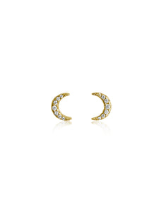 Crescent Moon Studs |  Gold Plated 925 Sterling Silver