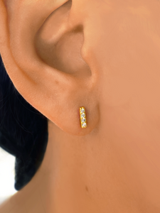 Bar Studs Gold | Gold Plated 925 Sterling Silver