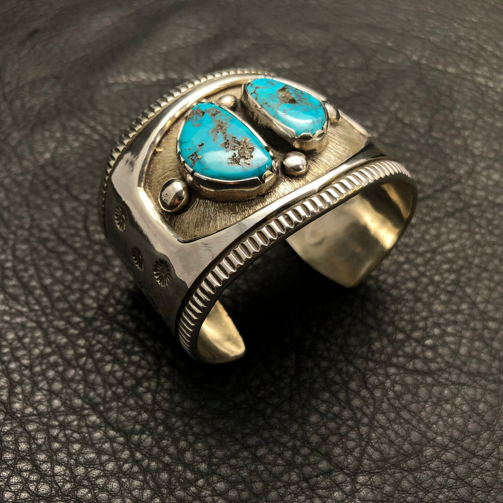 Heavy Ingot cuff w/ Red Mountain Turquoise