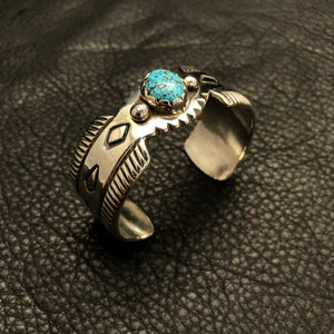Filed and Stamped Cuff w/ Kingman Turquoise