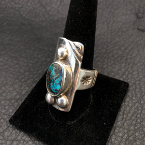 Shield Ring with Turquoise Mountain Setting