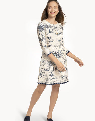 Island Fringe Dress Daise Seascape