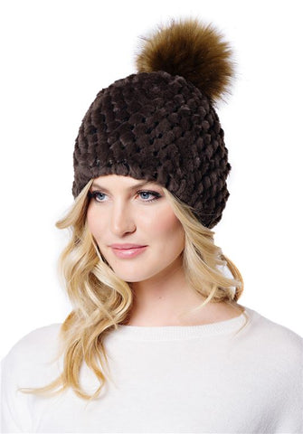 Knitted Fur Pom Hat Chocolate