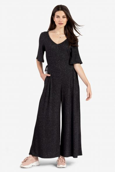 Flutter Sleeve Knit Jumpsuit