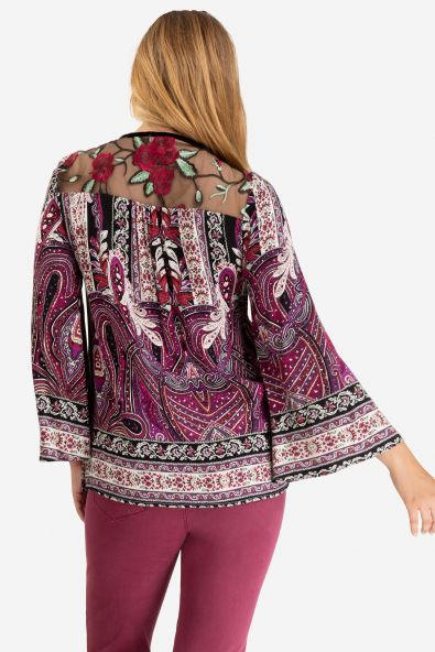 Mesh Back Embroidered Blouse