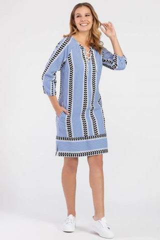 Blue Patterned Shift Dress