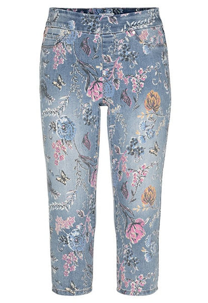 Pull-On Floral Denim Crop Pant