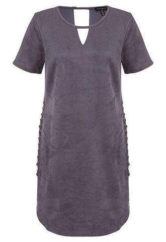 Tribal Suede Dress Slate