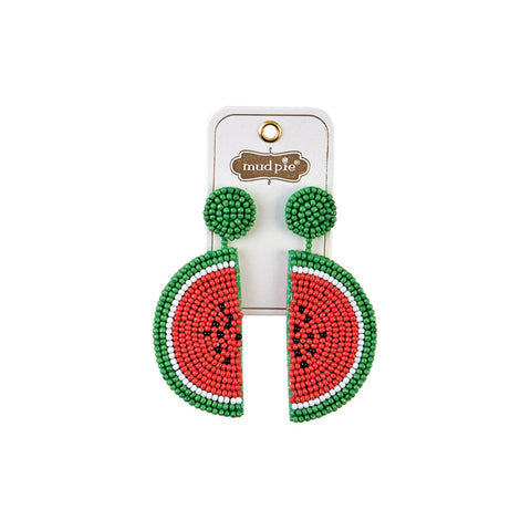 Watermelon Beaded Icon Earrings