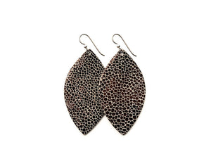 Small Anthracite Speckled Leather Earrings