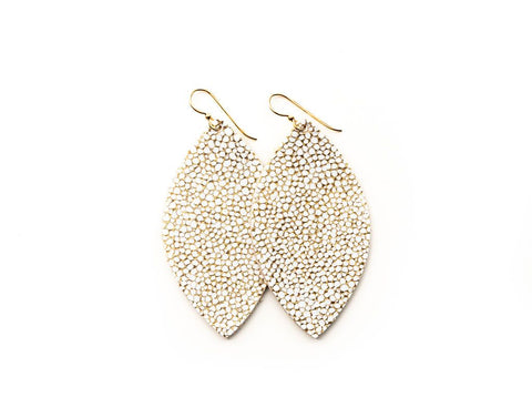 Small White and Gold Speckled Leather Earrings