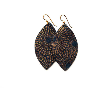 Large Blue and Bronze Starburst Leather Earrings