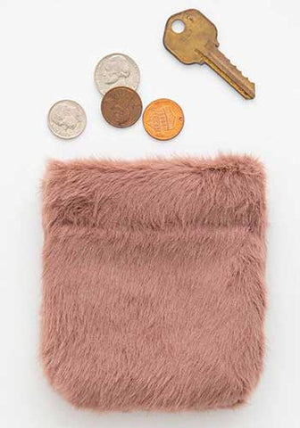 Dusty Rose Fuzzy Pinch Pouch