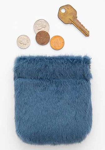 Dusty Blue Fuzzy Pinch Pouch