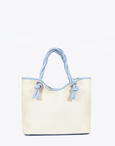 The Twist Tote Raffia in Steel Blue