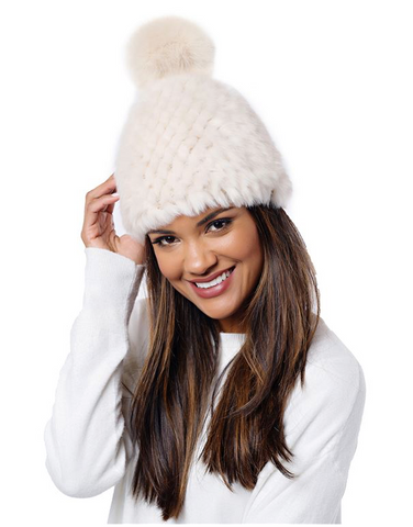 Knitted Fur Pom Hat Ivory